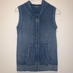 Athletic Velour-Like Vest with Hood